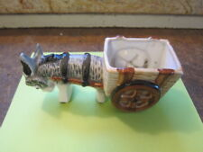 New listing Vintage Ceramic Donkey Pulling Cart Planter.Occupied Japan Hand Painted