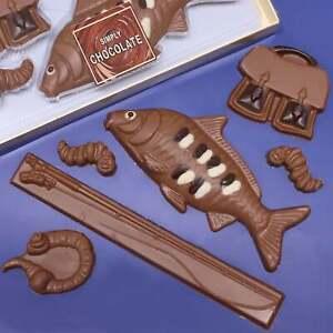 Novelty Chocolate Fishing Gift Set Kit Angling Fly Fisherman Fish Sea Rod Tackle