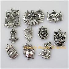 10 New Mixed Lots of Tibetan Silver Tone Animal Owl Birds Charms Pendants