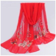 destockage foulard écharpe neuf mousseline de soie rouge des roses beiges