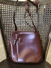 Longchamp Roseau Dark Brown Leather Cross Body Shoulder Bag Silver Hardware