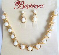 Halskette Collier Ohrringe Strass Perlen Schmuckset  Braut Hochzeit Brautschmuck