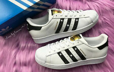 Women Adidas Superstar Customized with BLACK Swarovski Crystals Size 8.5