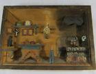 Vintage Folk Art Carved Wood 3D Diorama Shadow Box Cabin Cottage