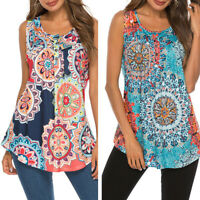 Women Floral Boho Tank Tops Sleeveless Loose Vest Blouse Summer Casual T-shirt