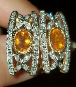 GORGEOUS RARE 10k SOLID GOLD MEXICAN FIRE OPAL DIAMOND OMEGA BACK EARRINGS 6.1g