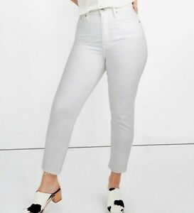 Madewell Womens Jeans Size 32 White The Perfect Vintage Crop Raw Hem High Rise
