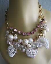 BETSEY JOHNSON WHITE LACE SKULLS, PEARLS & HEARTS STATEMENT NECKLACE~NWT**RARE**