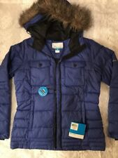 NWT COLUMBIA Women's Puffer Jacket Blue Large Incl Hood Detachable Fur Liner