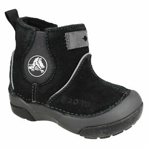 DAWSON BOOT KIDS BOYS CROCS ZIP UP SUEDE LEATHER LIGHTWEIGHT WINTER ANKLE BOOTS