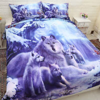 Snow Wolf Doona/Quilt/Duvet Cover Set Single Queen King Size Bed Glacier Animal