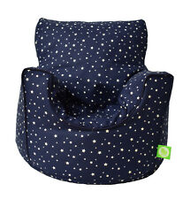 Cotton Navy Stars Bean Bag Arm Chair with Beans Child / Teen size From BeanLazy