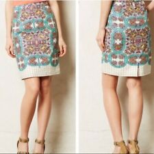 Maeve Anthropologie Manolya Linen Blend Damask Print Lined Pencil Skirt 8