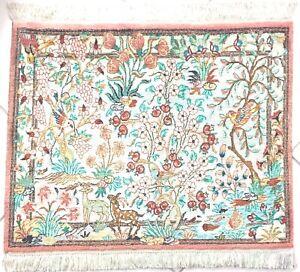 Seidenteppich Alte Ghom Handgeknüpfte Perser Teppich Grün Beige Old Silk Rug