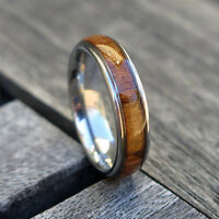 6mm Hawaiian Koa Wood Stainless Steel Ring Wood Wedding Engagement Band #25