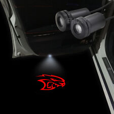 2x Red Logo Car Door Led Laser Projector Shadow Light For Dodge Charger Hellcat
