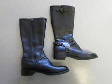 ECCO black leather, side zip, 12 in. tall boots. Women's 7 B (eur 38)