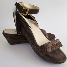 aa973cb3c28b NEW Prada Brown Raffia Suede Ankle Strap Wedge Sandals Sz 6.5