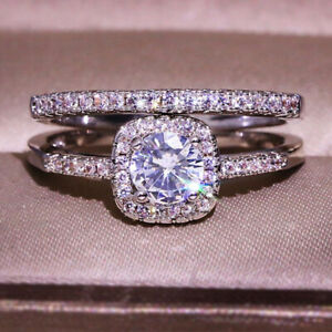 1.89 TCW Round Cut Moissanite Bridal Set Engagement Ring 14k White Gold Plated