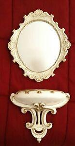 Vintage 1957 UNIVERSAL Statuary Resin MIRROR & Wall Pocket SHELF White & Gold