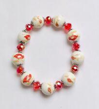 Stunning Red Ceramic & Ab Italian Crystal Beads Bracelet