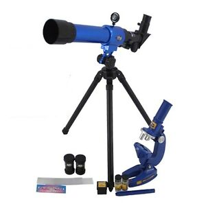 Childrens Science Microscope and Tripod Telescope Set Kids Astronomy Toy Gift