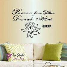 Vinyl Decal Peace Comes from Within Buddha Quote Wisdom Yoga Room Wall Decor 868