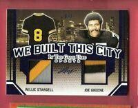 JOE GREENE WILLIE STARGELL GAME USED JERSEY CARD #d6/7 PITTSBURGH STEELERS LEAF