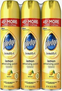 Pledge Lemon Scented Furniture Spray 14.2 oz. (3 Pack) Great Value & Service!!