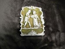 ORNATE CERAMIC GREEN & WHITE WALL PLAQUE - VICTORIAN COUPLE