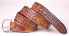 Vtg Hand Tooled Leather Belt-Brown-Horse-Metal Buckle-Distressed-Western Cowboy