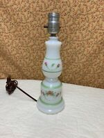 "Vintage Hand Painted White Milk Glass Orange Blue Floral Flower Table Lamp 14"""