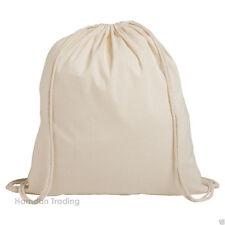 10 NEW TOP QUALITY NATURAL 100% Cotton Drawstring Rucksack Tote Bag School Gym