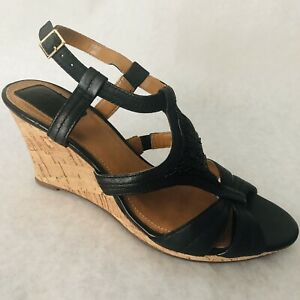 Clarks Sandals Size 8 M Black Beaded Wedge Heels 8M Shoes