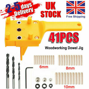 Handheld Woodworking Guide Wood Dowel Drilling Hole Saw Doweling Jig Drill Kits