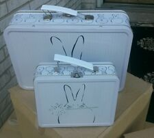 Metal lunch boxes with rabbits design too cute new 6pc 3 large 3 small must see