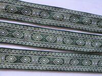 Dunkel Grün, Weiß Spitze 5,3 cm breit Borte elegante C0209