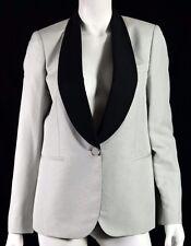 STELLA McCARTNEY Dove Gray Silk Black Shawl Lapel Blazer Jacket 42