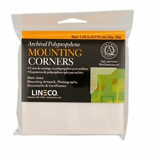 Lineco Archival Polypropylene Mounting Corners, Full View, 1.25 inch, 256 Pack