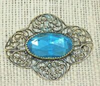 Antique Victorian Art Nouveau Brass Robin Eg Blue Glass Sash Pin Brooch Filigree