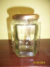 54 x 8oz GLASS HEXAGONAL JARS FOR CHUTNEY, MARMALADE, JAM wedding favours etc