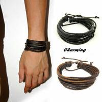 1Pc Leder Armband Bracelet Leather Surferarmband Herren Damen Armbänder R9F9