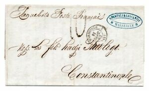 FRANCE: Shipmail cover Marseille to Constantinople, Turkey 1853. Arr.canc.