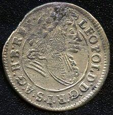 "Hungary 1699 Poltura Silver Coin "" Leopold I / Madonna & Child "" 20 mm Diameter"