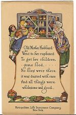 Metropolitan Life Insurance Ad  OLD MOTHER HUBBARD Nursery Rhyme Postcard Poem