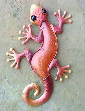Handcrafted Gecko Wall Art Metal Glass Orange Red