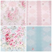 Floral Fabric 100% Cotton Roses Material By The Metre Vintage Pink Blue Crafts