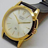 Seiko Quartz Super Slim Men Gold Plated Excellent Watch Running Condition
