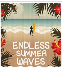 Coastal Ocean Tropical Beach Surfing Palm Trees Aquatic Art Decor Shower Curtain