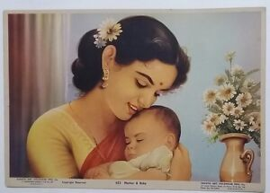 INDIA VINTAGE LITHO PRINT - MOTHER & BABY /SIZE-10X14 INCH /1960